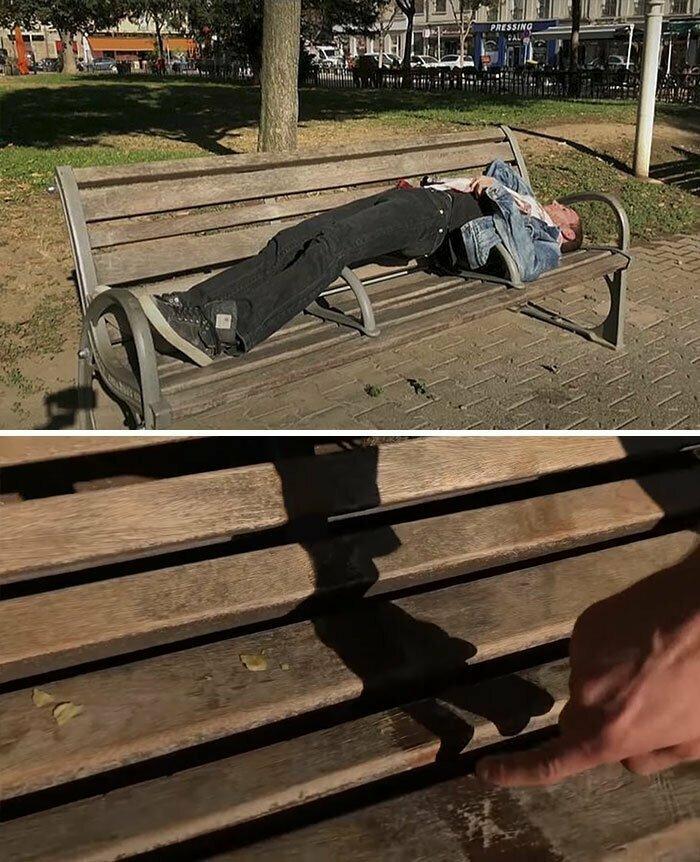 Этот мужчина борется за права бездомных. Он убрал с лавки скобы, за что был привлечен к суду
