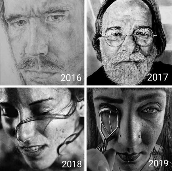 """""""Я понемногу учился рисовать фотореалистично. Вот мои лучшие работы за каждый год прогресса"""""""