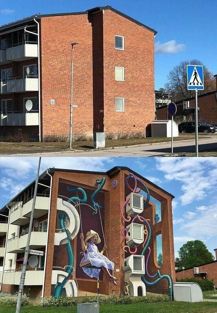 Здание до и после граффити