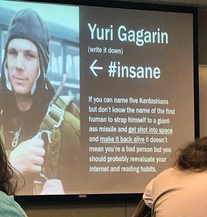 2. Как американский учитель описал Юрия Гагарина (перевод под картинкой):