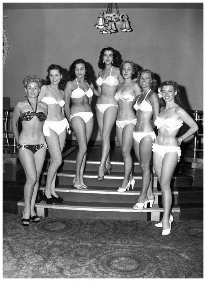 Семеро претенденток на победу в конкурсе красоты «Мисс Мира» 1951 года.