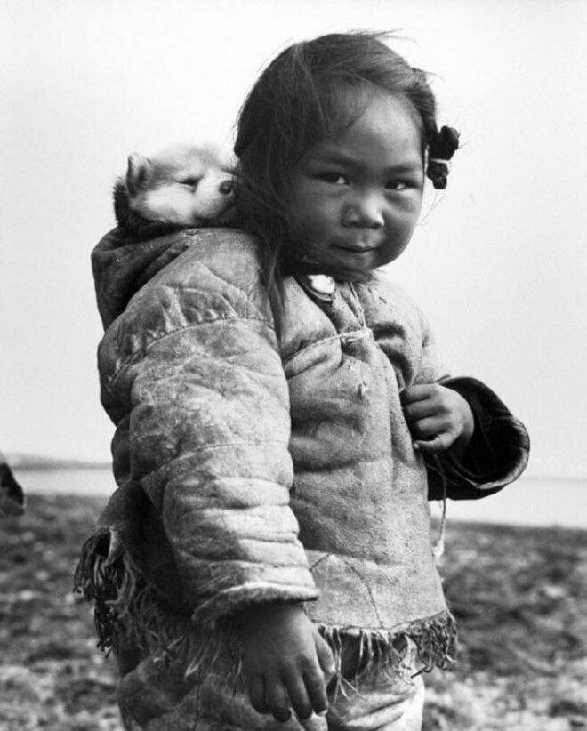 21. Маленькая эскимоска со своим хаски, 1949 год