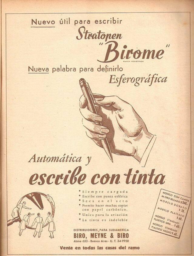 """Первая реклама шариковой ручки от Биро: """"Новый инструмент для письма - Birome"""""""
