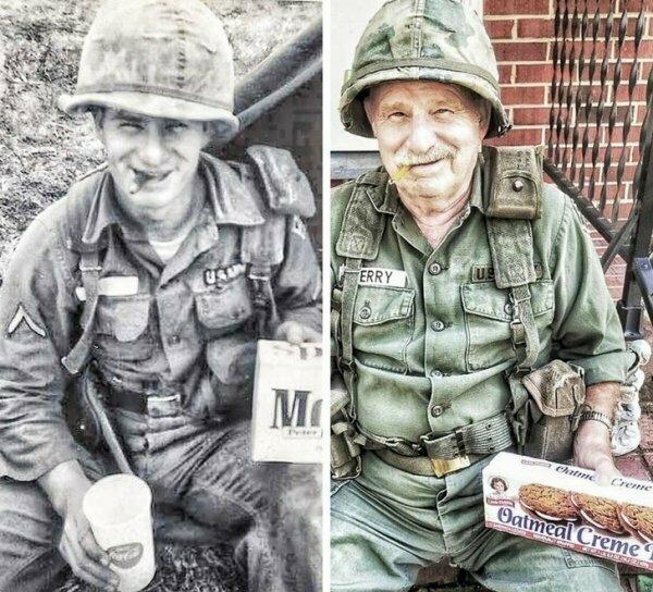 Мужчина, служивший во Вьетнаме, в 19 лет и сейчас.