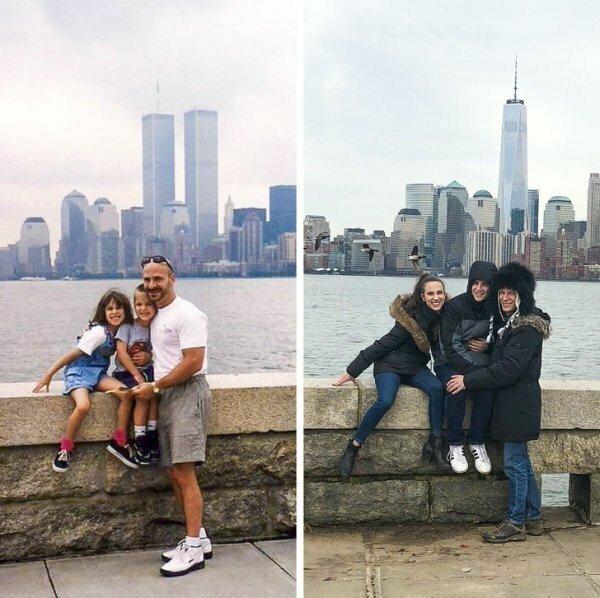 Семья воссоздала фотографию 1999 года.
