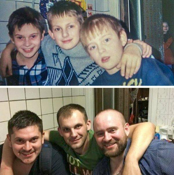 Трое друзей в 1999 и 2016 годах.