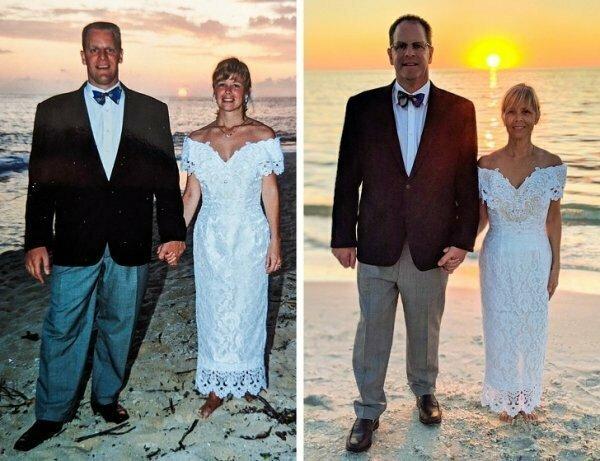 Муж и жена спустя 25 лет брака решили воссоздать свадебное фото и отпраздновать таким образом годовщину.