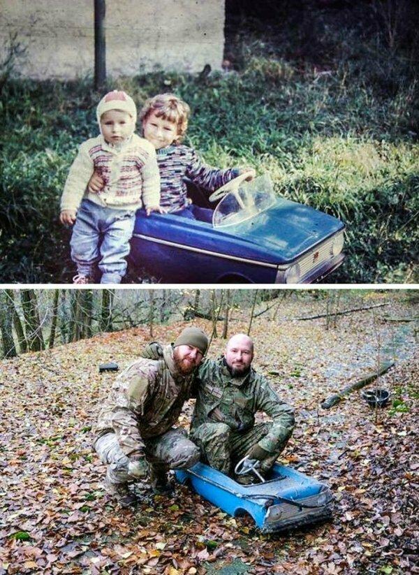 Эти братья вернулись в Припять и нашли свою машинку, чтобы воссоздать старую фотографию. Правда, это очень трогательно?