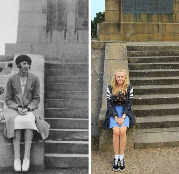 «Я и моя прабабушка на одном и том же месте. Разница в 89 лет!».