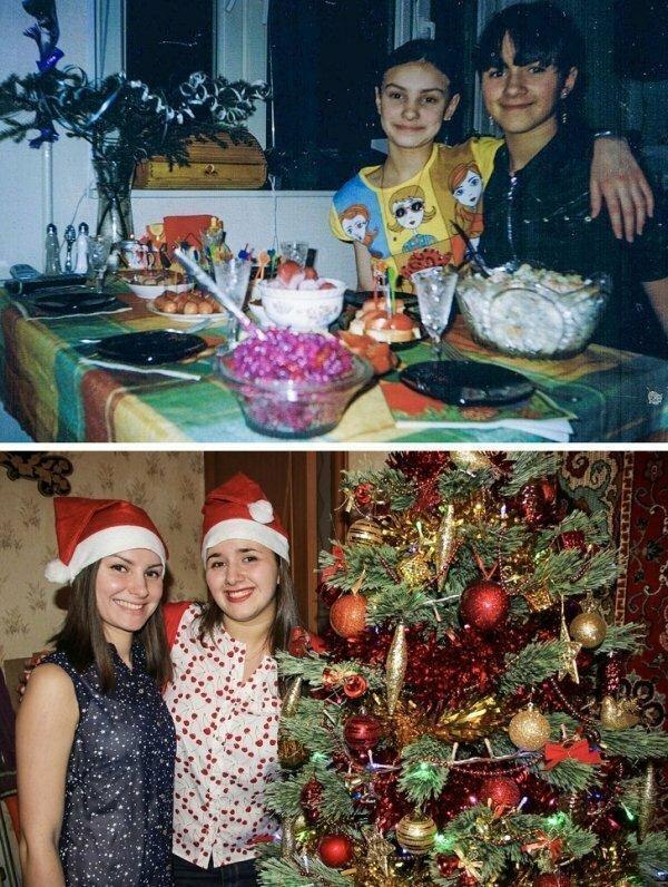 Две подруги в 2004 и 2017 годах.