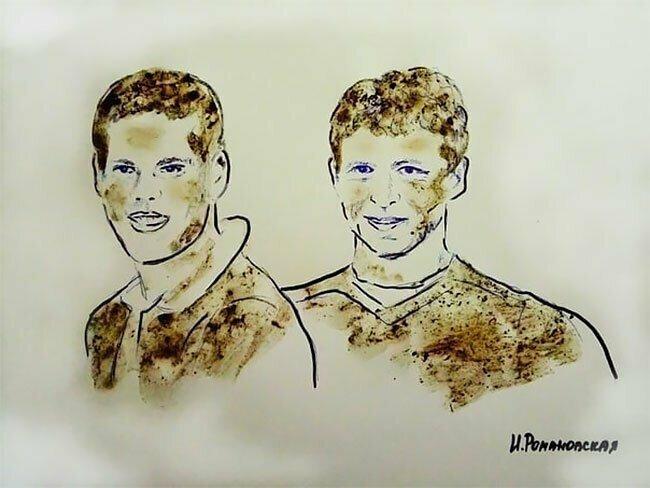 Футболисты Кокорин и Мамаев (портрет написан грязью ради намека на плохое поведение спортсменов)