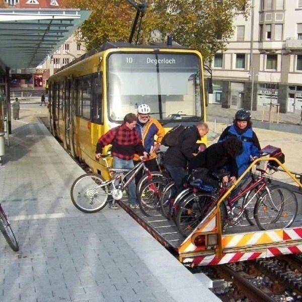 Забота о тех, кому надо проехать на трамваем и взять с собой велосипед