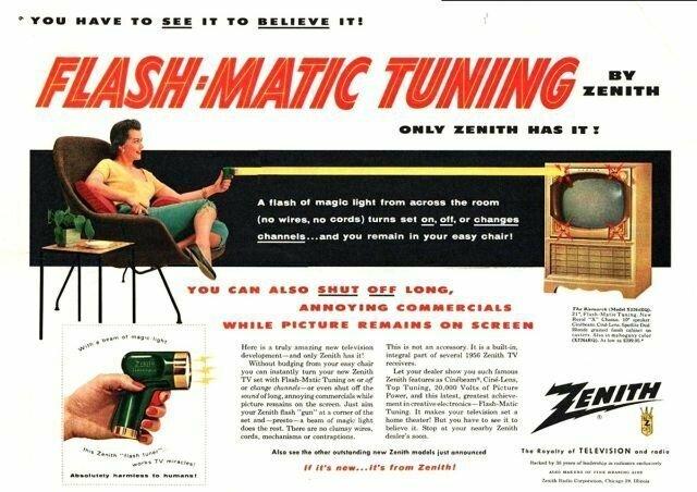 """Первая реклама пульта Zenith Flash-Matic: """"Нужно увидеть его, чтобы поверить!"""""""