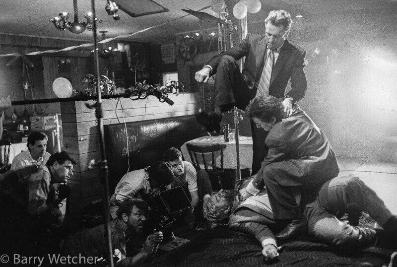 """Роберт Де Ниро, Джо Пеши и Мартин Скорсезе на съемках фильма """"Славные парни"""", 1990 год, США"""