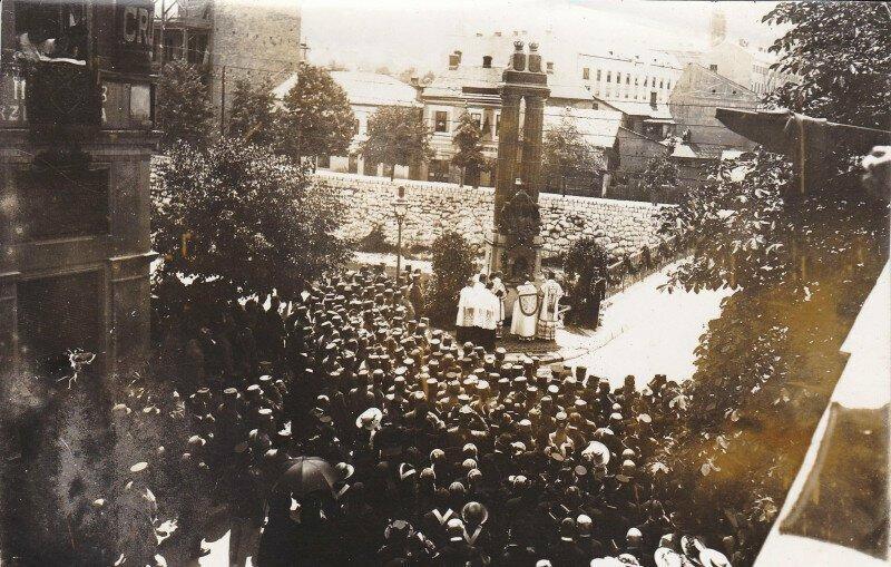 Открытие памятника эрцгерцогу Францу Фердинанду и его жене на месте покушения. Сараево, 1917