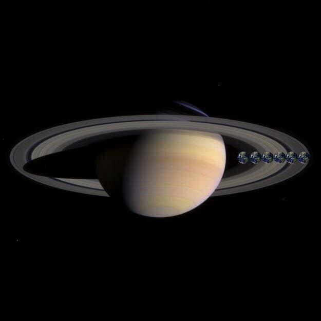 А это Земля (точнее, шесть ее повторений) на фоне Сатурна