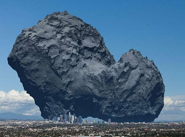 А вот так выглядел бы Лос-Анджелес на фоне средней кометы