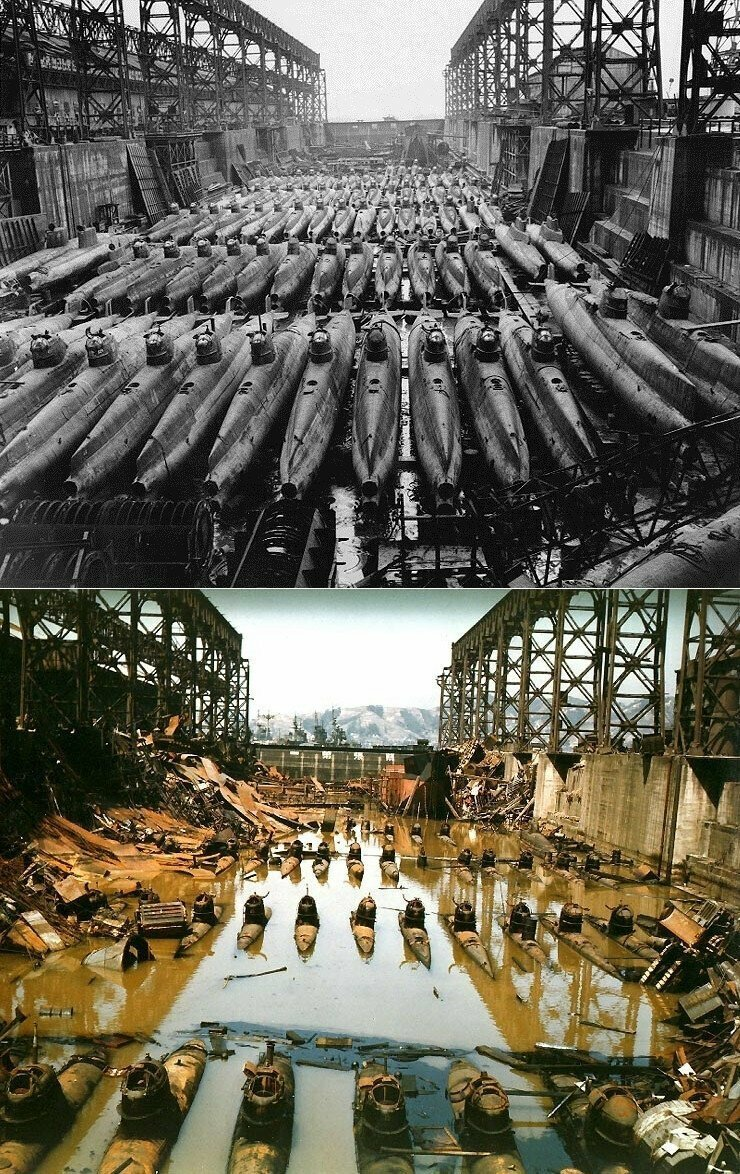 """Малолитражные подводные лодки """"Корю"""" в сухом доке в Куре, Япония. До и после бомбардировок союзников"""