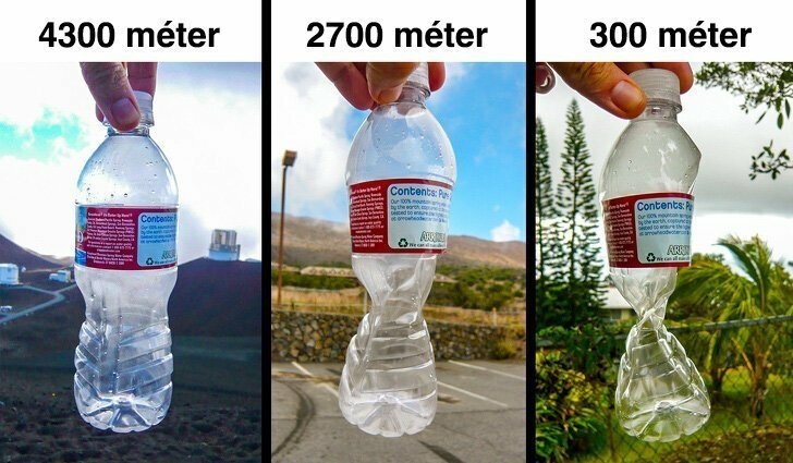 Деформация бутылки на разных высотах