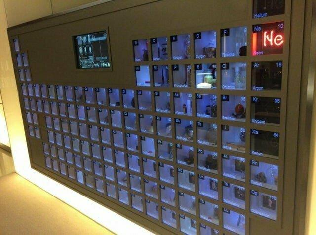 Периодическая система Менделева с образцами каждого элемента в офисе Билла Гейтса
