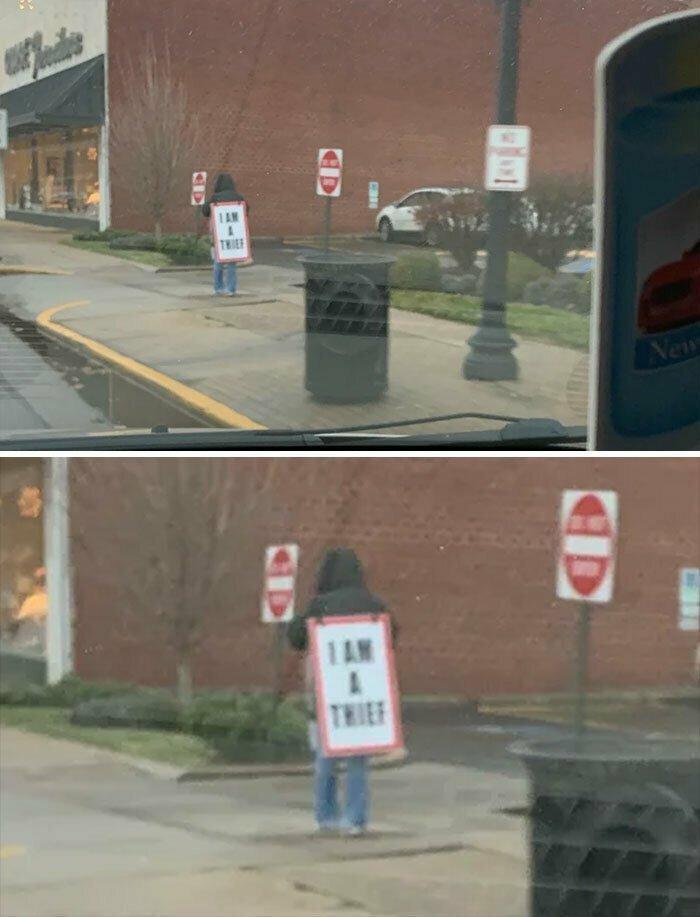 """""""В нашем городе за мелкую кражу такое наказание: """"прогулка позора"""" с плакатом-сэндвичем, на котором написано """"Я вор"""""""