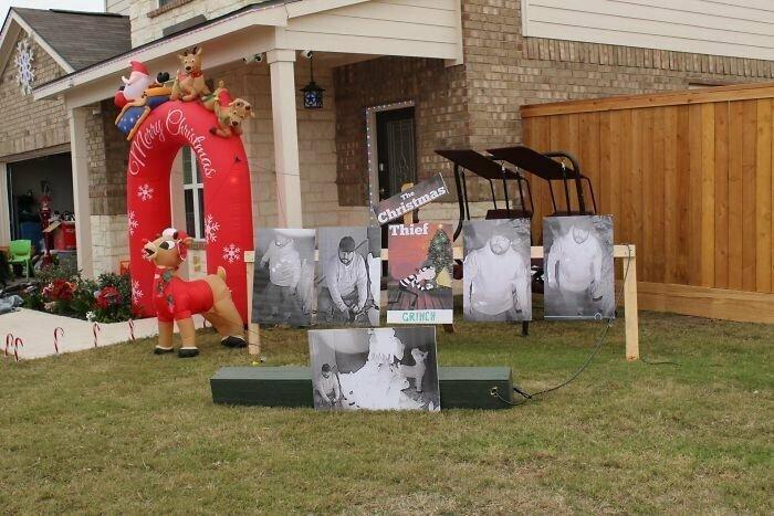 """""""У моих соседей со двора украли рождественские украшения. Они заменили их на портреты вора, сделанные камерой наблюдения и подписали """"Вор Гринч"""""""