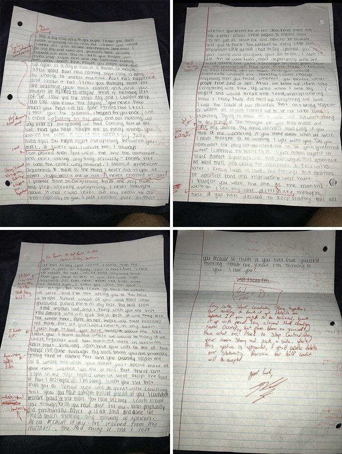 """""""Бывший прислал письмо с извинениями. Я исправила все ошибки, выставила оценку и отослала его назад"""""""
