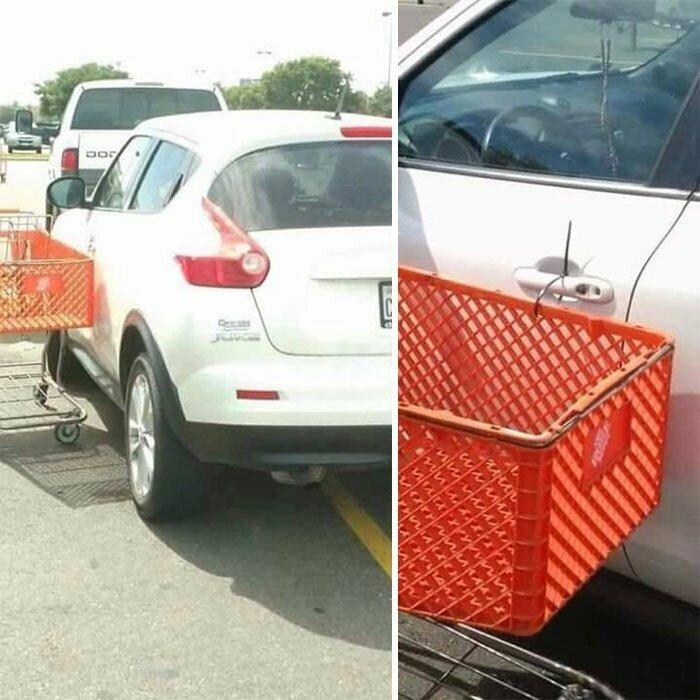 """8. """"Если ты занимаешь сразу два парковочных места, я пристегиваю к твоей машине тележку"""""""