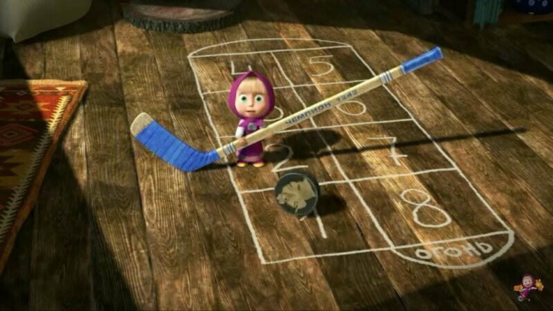 """В серии """"Маша и каша"""" (17) у Маши в руках клюшка с надписью """"Чемпион 1242"""" - это год ледового побоища."""