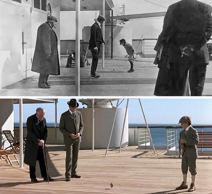 """Первое фото с настоящего Титаника, второе кадр из фильма """"Титаник"""""""