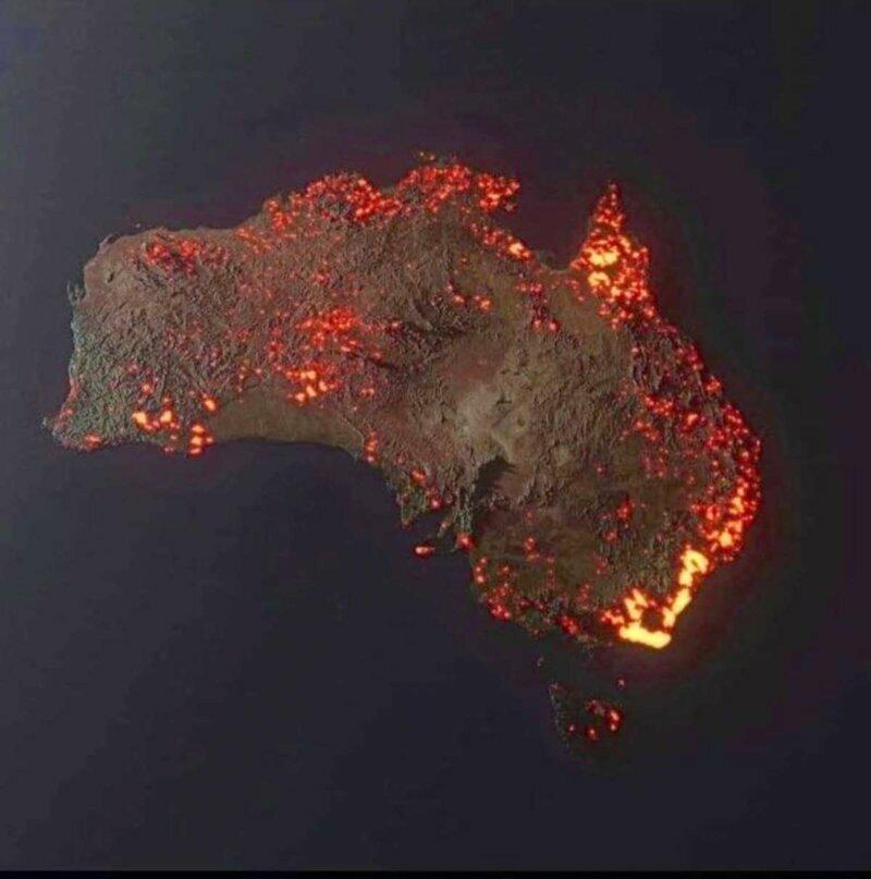 Это снимок выдается за фото горящей Австралии из космоса. На самом деле это работа Аnthony Hearsey – 3D-визуализация очагов возгорания за месячный период: