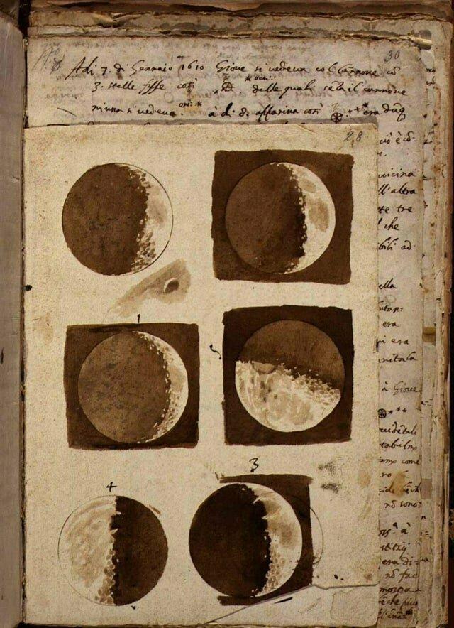 12. Галилей и его первые рисунки луны после наблюдения в телескоп в 1609 году