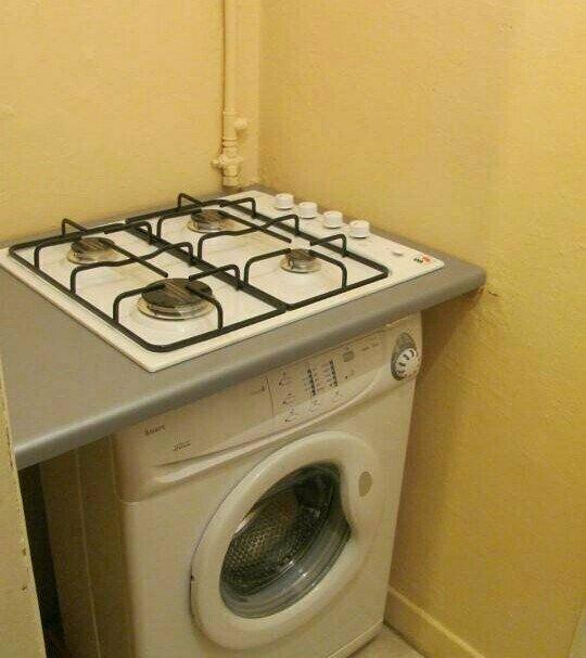 Как вариант — поставить стиралку на кухне
