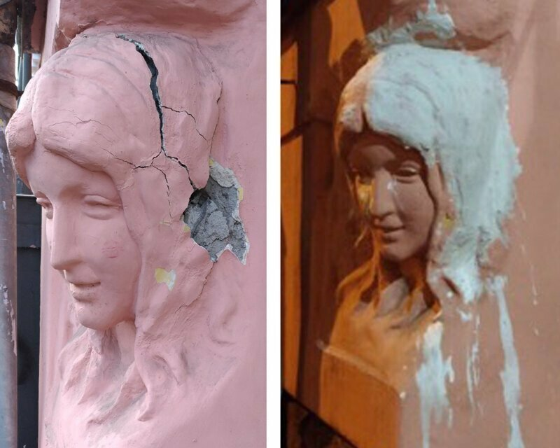 Горе-реставрация барельефа в Санкт-Петербурге