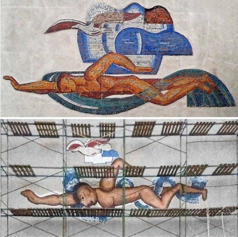 Пловец и чайка с советской мозаики в Нижнем Новгороде превратились в настоящее убожество