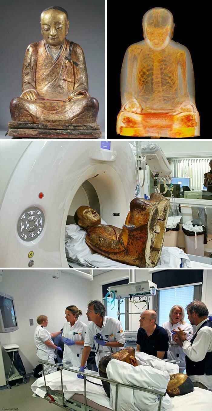 Ученые обнаружили 1000-летнюю мумию монаха внутри китайской статуи Будды
