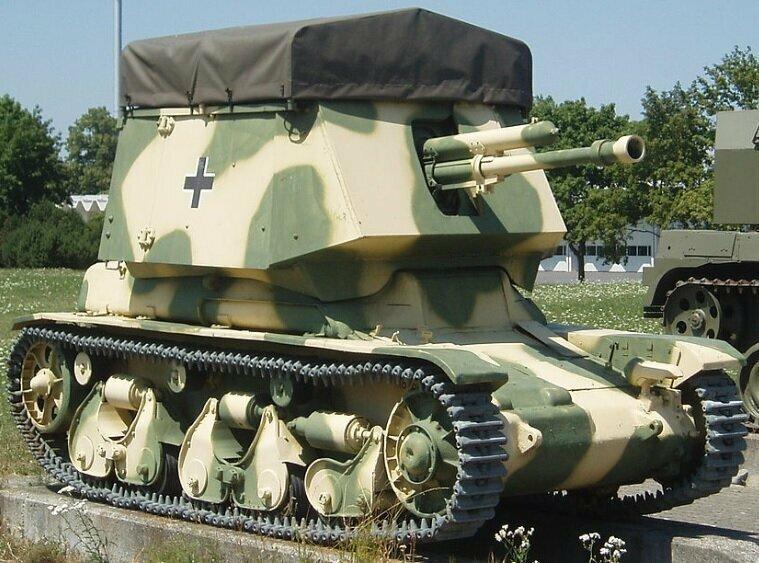 Чехословацкая противотанковая пушка Škoda A6 в немецком корпусе, установленном на французском корпусе Renault R35, творение Беккера