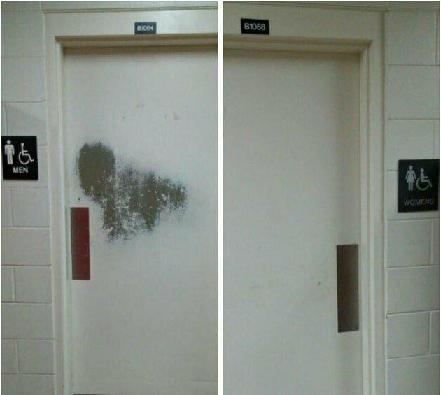 Дверь в мужской туалет не выдержала испытания временем