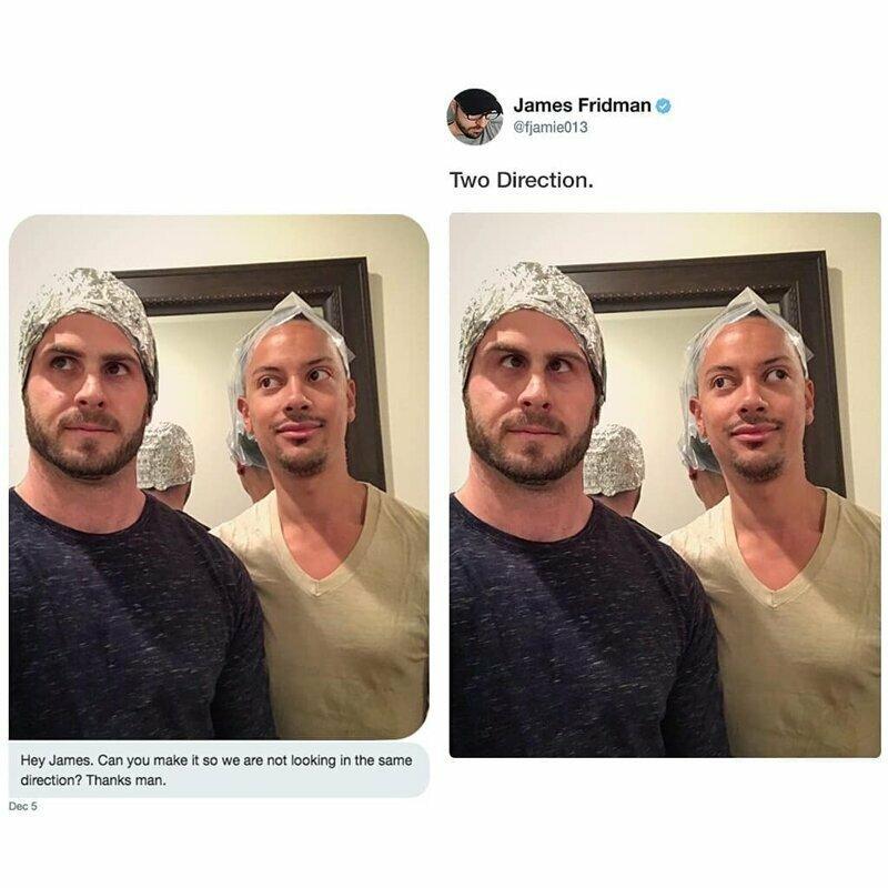 Привет, Джеймс! Можешь ли ты сделать так, чтобы мы не смотрели в одном направлении? Спасибо