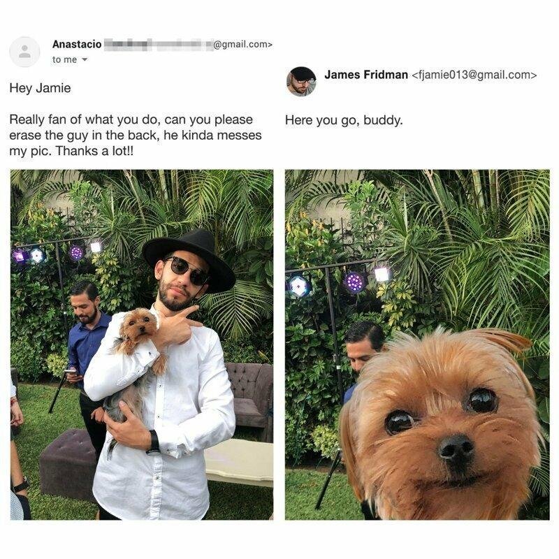 Привет, Джейми! Мне нравятся твои работы, не мог бы ты убрать парня сзади, он немного портит фото. Большое спасибо