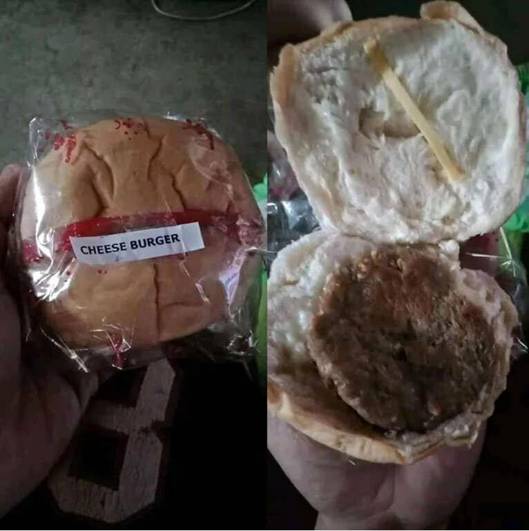 Чизбургер с тонкой полоской сыра