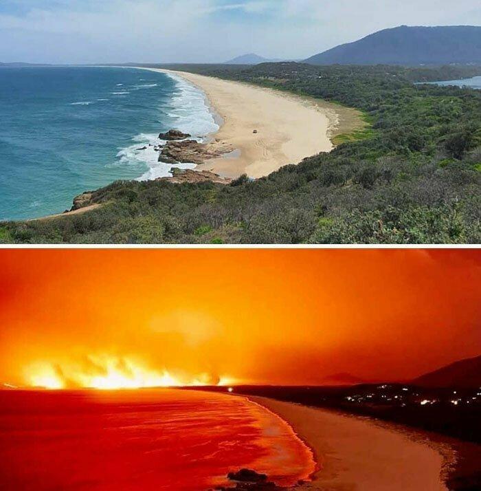 Пожары в Австралии: снимок одного и того же места с разницей в 1 неделю