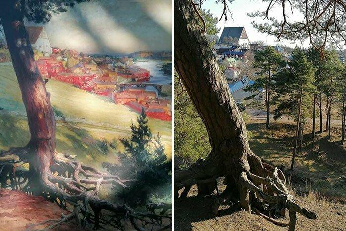 Постоянство: слева - картина 1892 года, справа - снимок изображенного на ней места 2020 года