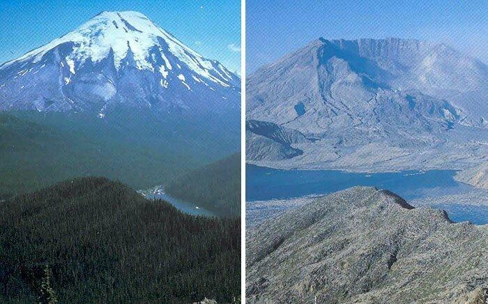 Вулкан святой Елены до и после извержения