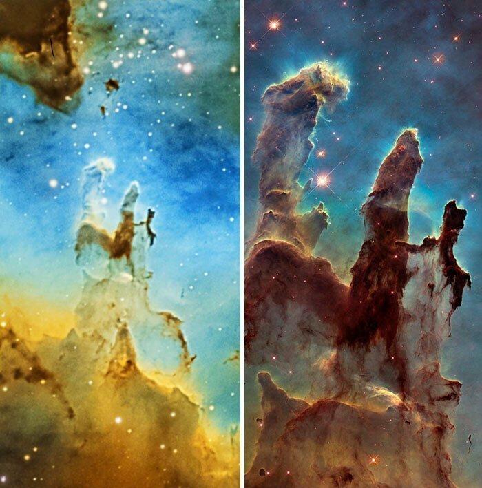 "Снимок с домашнего телескопа против снимка с телескопа ""Хаббл"""