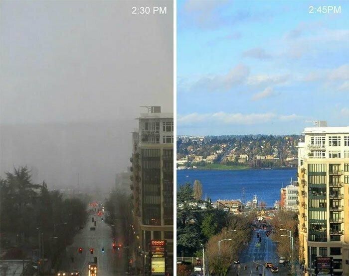 Изменчивая погода в Сиэттле: разница между снимками - 15 минут