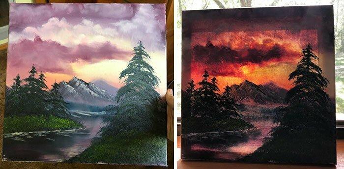 Одна и та же картина у стены и у окна
