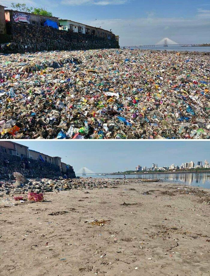 Целый год местная молодежь убиралась на берегу реки Митхи в Мумбае. Поссотрите, какая разница!