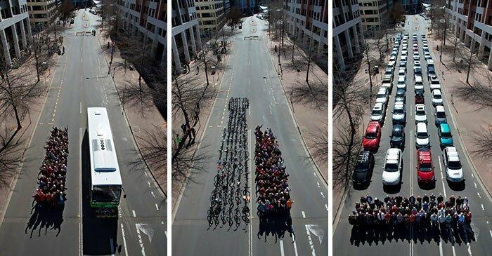Сколько места займут на дороге 69 человек в автобусе, на велосипеде и на личных авто
