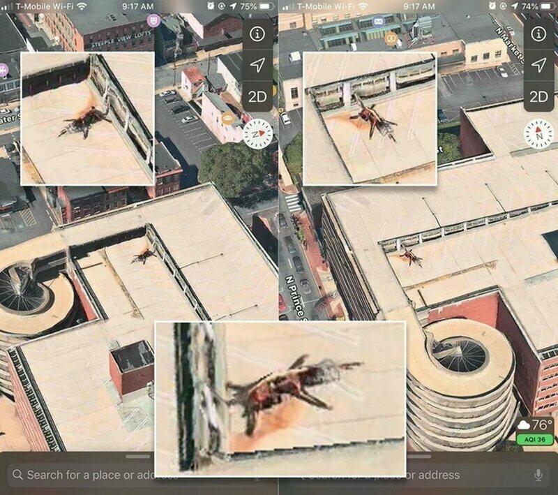 Эту штуку обнаружила на крыше парковочного комплекса на Apple-картах